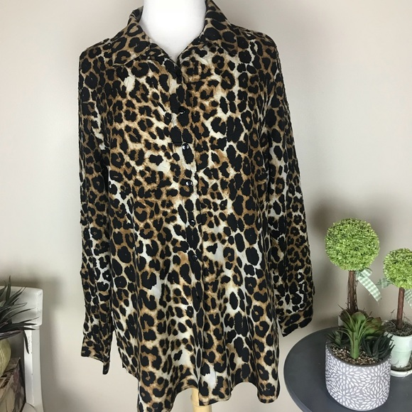 e6ae0a518867 Chico's Tops | Chicos Casual Cougar Print Casual Stretch Blouse ...